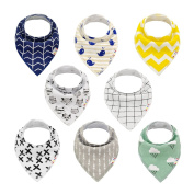 Alva Baby Stylish Unisex Baby Bandana Drool Bibs for Boys and Girls 8 Pack of Super Absorbent Baby Gift Settings SKX01-EU