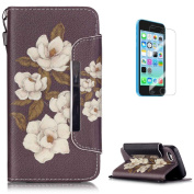 Premium Leather Wallet Case for iPhone 5C [with Free Screen Protector],KaseHom Fashion Unique Colourful Pattern Design Book Style Folio Magnetic Flip Stand Shockproof Protective PU Leather Case Cover Skin Shell for Apple iPhone 5C with Card Holder Slot ..