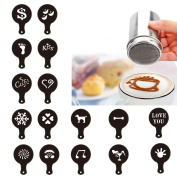 OUNONA Stainless Chocolate Shaker Icing Sugar Salt Cocoa Flour Coffee Sifter + 16pcs Cappuccino Coffee Stencils