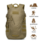 Hisea Durable Nylon Waterproof Outdoor Hiking Backpack - Daypack Tactical Military MOLLE Rucksacks 15L/25L