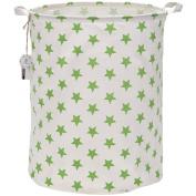 Sea Team 50cm Large Sized Waterproof Coating Ramie Cotton Fabric Folding Laundry Hamper Bucket Cylindric Burlap Canvas Storage Basket with Stylish Greenery Stars Design