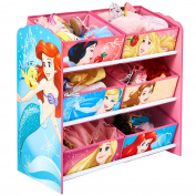 HelloHome Disney Princess Kids Bedroom Toy Storage Unit with 6 Bins, Wood, multicolour