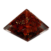 40-55mm Natural Red Jasper Orgone Pyramid, Energy Generator Engraved Beautifully Pyramid