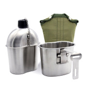 Latinaric 0.9l Portable Water Bottle Stainless Steel Military Canteen with 0.9l Cup Green Bag Outdoor Sport Camping Hiking Travel