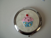 Cupcake Design Compact Mirror Blue & Pink Birthday Gift by Lesser & Pavey