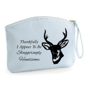 Thankfully I Appear To Be Staggeringly Handsome Grooming Statement Make Up Bag - Cosmetic Canvas Case