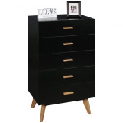 FineBuy Chest of drawers SCANIO 60x110x40 cm MDF black Sideboard with 5 drawers Sideboard flooring furniture Scandinavian design wooden chair | Multifunctional cabinet