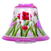 Aroma Accessories Hand Painted Tulip Candle Jar shade 16 cm, Red
