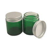 PACK of 6 - 30ml GREEN GLASS Jars with ALUMINIUM Lids for Aromatherapy Blends / Creams