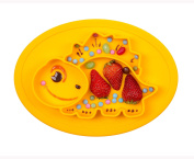 Qshare Toddler Plates, One-Piece Baby Plate for Babies Toddlers and Kids, Portable BPA-Free FDA Approved Strong Suction Plates for Toddlers, Dishwasher and Microwave Safe Silicone Placemat 28*20*2.5cm