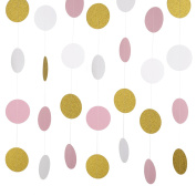 Outus 3 Pieces 9.1m Paper Garland Dots Hanging Decor for Party Wedding Celebration, Gold Pink White Circle