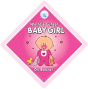 World's Cutest Baby Girl On Board Car Sign, Car Sign with Suction Cup, Baby On Board Sign, Novelty Car Sign, baby on board, decal, bumper sticker, Baby Sign, Baby Car Sign