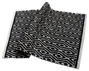 Chardin Home - 100% cotton Diamond Rug Fully reversible - Mat size 50cm x 90cm , Machine washable, Black & White