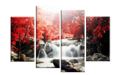 Red Autumn Forest Waterfall Landscape Canvas 4 Panel 100cm wide - template included for easy hanging UK company