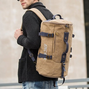 Leisure Sports bags Men's shoulder bags canvas bags Large capacity outdoor backpack, khaki