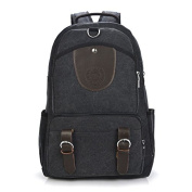 Middle School canvas Bag Korean version men's shoulder bags big-capacity sports bags computer backpack, black