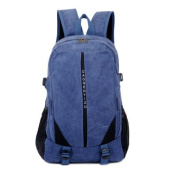 Men's Canvas backpack shoulder bag Computer Bag Korean edition knapsack Leisure sports bags, navy blue