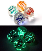 Set of 4 x 16mm Luminescent Glow In The Dark Glass Marbles - Handmade Collectors Set