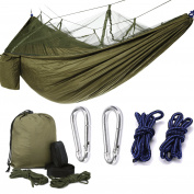 Camping Hammock Set, 2 Person Lightweight Nylon Parachute Fabric Portable Outdoor Camping Hammock With Mosquito Net, Straps Ropes Carabiners, 2 Person Camp Gear For Camping Hiking Backpacking Travel, Army Green