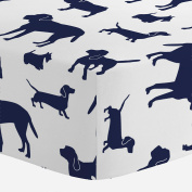 Carousel Designs Navy Dogs Crib Sheet - Organic 100% Cotton Fitted Crib Sheet - Made in the USA