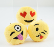 Multi-Set ~ Mini 3.8cm 3.8cm Round Emoji Face Keychain Key Chain Plush Toy Ring Emoticon Yellow Smiley Soft Cushion Gift US SELLER . Set of 3E)