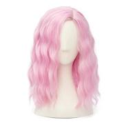 Mid Length Wavy Fashion Aqua Lolita Girls Cosplay Wig Plus Cap, Pink