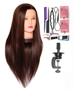 Bellrino 70cm (Long and thick) Cosmetology Mannequin Manikin Training Head with Synthetic Fibre with Table Clamp Holder