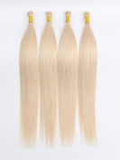OrderWigsOnline Nano Ring Hair Extensions Hair on Wire 100% Virgin Remy Brazilian Human Hair 46cm Straight Hair 50 Strands/Bag 0.75g/Strand #60 Platinum Blonde Wire Tip Hair