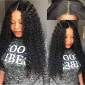 Foxys' Hair Kinky Curly Human Hair Wig Unprocessed Curly Full Lace Wig Brazilian Virgin Lace Front Wig for Black Womem 130% density22inch