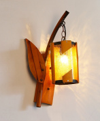 ZGW wall lamp Solid Wood Glass Wall Light Pastoral Creative Personality Restaurant Bamboo Arts Antique Wall Lamp Wall Mounted ligh