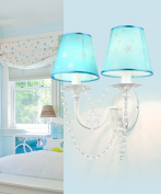 ZGW wall lamp Crystal Wall Lamp Children's Room Bedroom Bedroom Bedside Cloth Wall Lights Blue Wall Mounted ligh