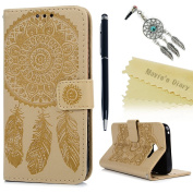 Mavis's Diary Samsung Galaxy A5 2017 Case ,Galaxy A5 Flip Case (2017 Model) -[Mandala & Feather Embossed] PU Leather Wallet Protective Cover with Flexible Rubber Gel Bumper Back Holder Stand Card Slots with Dust Plug & Stylus & Wrist Strap (Not for 201 ..