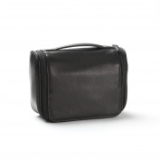 Small Hanging Toiletry Bag - Full Grain Leather - Black Onyx