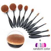 Angel Cosmetic 10 Pieces Soft Oval Toothbrush Makeup Brush Set Black Handles with Random Colour Washing Egg