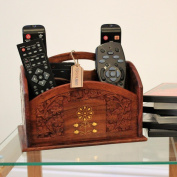 Indian Hand Carved Accessory Remote Controls stationery Holder Sheesham Wood