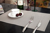 Addfun®Table Mats(Set of 6),Premium Washable High Quaity Non-Slip Insulation PVC Place Mats for Dinner Table,Silver