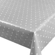 QPC DIRECT Light Pale Grey Polka Dot Spot Print PVC Oilcloth Table Cover Vinyl Tablecloth, 200cm x 137cm
