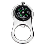 Ezyoutdoor Metal Crafts Compass Keychain with Bottle Opener for Outdoor Camping Hiking Portable Pocket Navigation Tools
