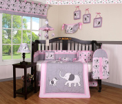 Boutique Baby Pink Grey Elephant 14 Pieces Nursery Crib Bedding Sets - Including Musical Mobile