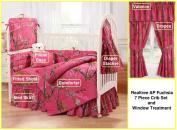Camo Realtree AP Fuchsia (Hot Pink) 7 Pc Baby Crib Set and Window Treatment Gift Set