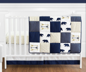 Navy Blue, Gold, and White Patchwork Big Bear Boy Baby Crib Bedding Set without Bumper by Sweet Jojo Designs - 4 pieces