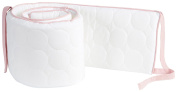 Oilo Quilted White Bumper- Blush Piping and Ties, White/Blush