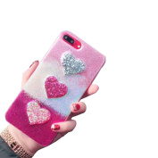 iPhone 7 Plus Glitter Case ,Sunvy Bling Giltter Lovely Hear New Design Cover For 14cm iphone 7 plus With a Screen Protector