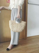 Natural Chic Hand-woven Round Handle Ring Toto Retro Large Casual Summer Beach Handbags