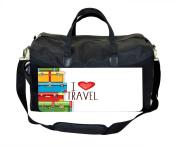 I Love Travel Print Nappy Bag