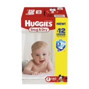 HUGGIES Snug & Dry Nappies, Size 2, 140 Count