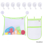 Bath Toy Organiser Set - 2x Mesh Bags (Size XL and L) - 8 Extra Strong Grip Lock Suction Cup Hooks (Green) - Easy Storage of Bath Toys and Other Bathroom Items - Mesh Bags Allow Content to Dry