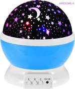 Awesome-K Moon-Star Sky Night lighting Lamp 4 LED Beads With Colourful 360 Rotating Cosmos Star Sky Moon Projector With 3 Model Lights and 1 M USB Cord For Children and Kids Imagination Bedroom