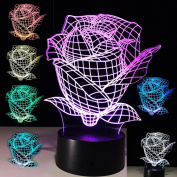 3D Rose Illusion Lamp Optical Colour Changing Led Desk Night Light Kids Bedroom Nursery Decor