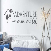 BATTOO Adventure Awaits Wall Decal Stickers - Adventure Quotes Travel Theme Wall Decor - Wanderlust Wall Decal - Mountain Wall Decal Bedroom Decor